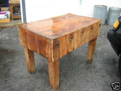 This Is An Original Antique Butcher Block Table