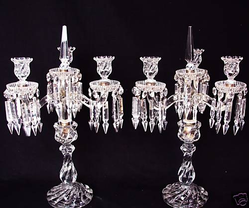 Pair Of Baccarat Crystal Candelabra Lusters Signed Nr